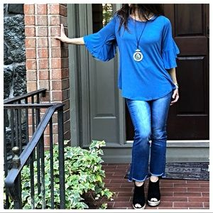 Tops - Royal blue  3/4 bell sleeves tunic top